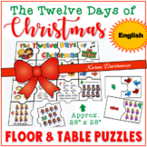 Twelve Days of Christmas Math Puzzles - ENGLISH (Floor Puz