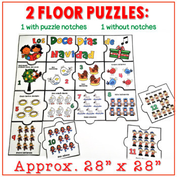 Twelve Days of Christmas Math Puzzles - SPANISH (Floor Puzzle & Table Puzzles)