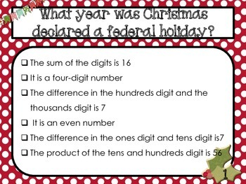 Twelve Days of Christmas Math Mystery Numbers - Common Core Aligned