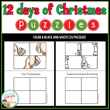 Cut and Paste Fine Motor Puzzles: Christmas Twelve Days of Christmas