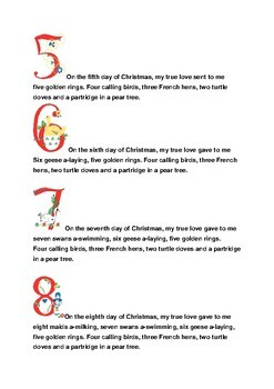 Twelve Days of Christmas Song and Activity