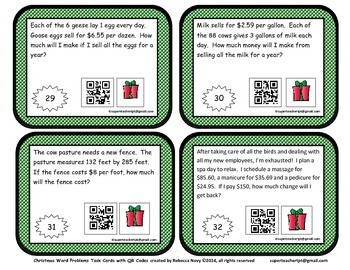 Twelve Days of Christmas Word Problems Task Cards with QR Codes