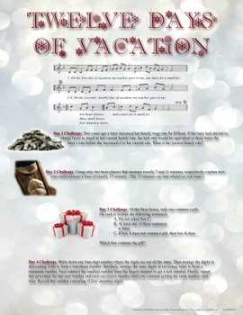 Twelve Days of Christmas Vacation Activity