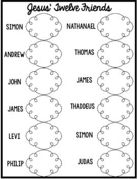 Twelve Disciples Graphic Organizer