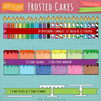 Frosted Cakes with Candles Clip Art - Birthday