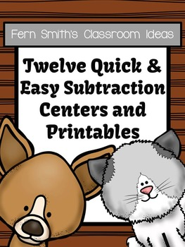 Twelve Subtraction Centers Quick and Easy to Prep Math Centers and Printables