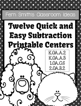 Subtraction Math Centers Quick and Easy to Prep Math Center Printables Games