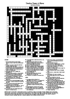 Twelve Years A Slave - Crossword Puzzle