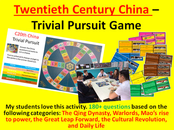 Twentieth Century China – Trivial Pursuit Revision Activity (180+ questions)