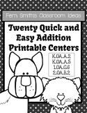 Twenty Addition Quick and Easy to Prep Black and White Printable Math Centers