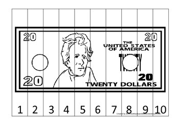 Twenty Dollar Bill 1-10 Number Sequence Puzzle. Financial education for preschoo