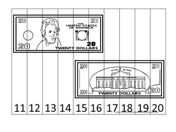 Twenty Dollar Bill 11-20 Number Sequence Puzzle. Preschool financial education.