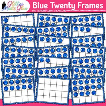 Blue Twenty Frames Clip Art | Teach Place Value, Number Sense, & Fact Fluency
