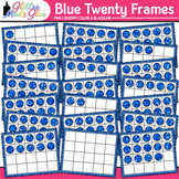 Blue Twenty Frames Clip Art {Teach Place Value, Number Sen