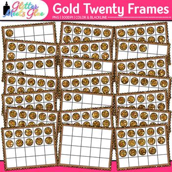 Gold Twenty Frames Clip Art {Teach Place Value, Number Sense, & Fact Fluency}