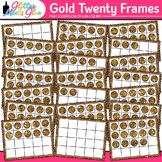 Gold Twenty Frames Clip Art {Teach Place Value, Number Sen