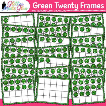 Green Twenty Frames Clip Art {Teach Place Value, Number Sense, & Fact Fluency}
