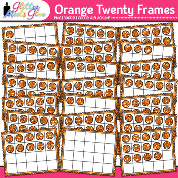 Orange Twenty Frames Clip Art {Teach Place Value, Number Sense, & Fact Fluency}