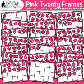 Pink Twenty Frames Clip Art {Teach Place Value, Number Sen