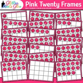 Pink Twenty Frames Clip Art {Teach Place Value, Number Sense, & Fact Fluency}