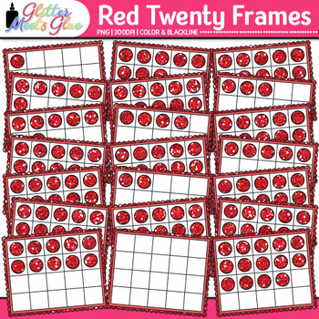 Red Twenty Frames Clip Art {Teach Place Value, Number Sense, & Fact Fluency}