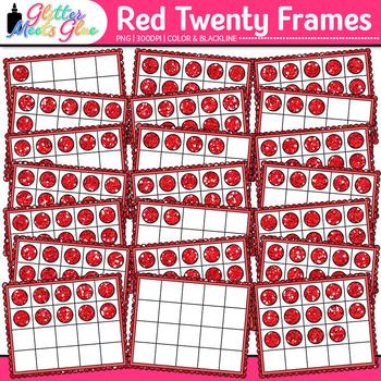 Red Twenty Frames Clip Art | Teach Place Value, Number Sense, & Fact Fluency