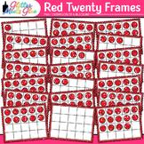 Red Twenty Frames Clip Art {Teach Place Value, Number Sens