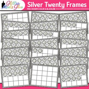 Silver Twenty Frames Clip Art | Teach Place Value, Number Sense, & Fact Fluency