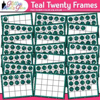 Teal Twenty Frames Clip Art {Teach Place Value, Number Sense, & Fact Fluency}