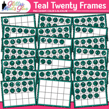 Teal Twenty Frames Clip Art | Teach Place Value, Number Sense, & Fact Fluency