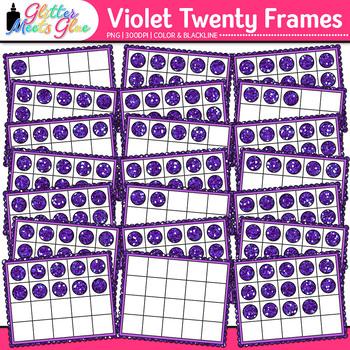 Violet Twenty Frames Clip Art | Teach Place Value, Number Sense, & Fact Fluency