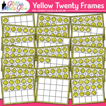 Yellow Twenty Frames Clip Art {Teach Place Value, Number Sense, & Fact Fluency}