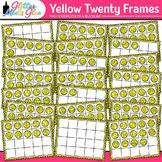 Yellow Twenty Frames Clip Art {Teach Place Value, Number S