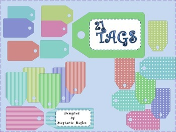 Twenty-One Clip Art Tags in Assorted Colors and Styles