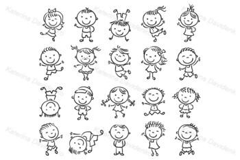 Twenty Sketchy Happy Kids Jumping with Joy