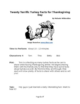 Twenty Terrific Turkey Facts for Thanksgiving Day - Small Group Reader's Theater
