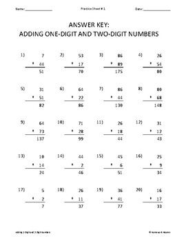 Twenty Worksheets for Adding 1-Digit and 2-Digit Numbers