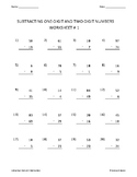 Twenty Worksheets for Subtracting 1-Digit and 2-Digit Numbers