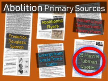 Twenty-five quotations from Harriet Tubman - Handout with Guiding Questions