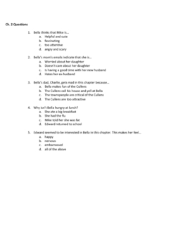 Twilight Chapter 2 Vocab and Questions