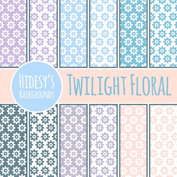 Twilight Floral Backgrounds / Digital Papers / Patterns Clip Art Commercial Use
