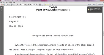 Twilight Point of View Writing Activity and Rubric