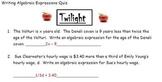 Twilight - Writing Algebraic Expressions - Common Core