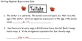 Twilight - Writing Algebraic Expressions - Common Core