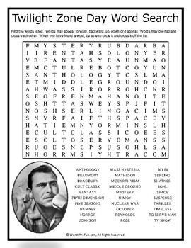 Twilight Zone Day Word Search Puzzle