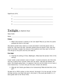 Twilight by Stephenie Meyer:Teacher and Student Guide with Answers