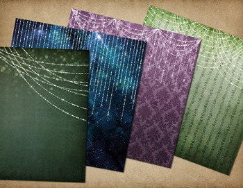 Twilight fantasy fairy lights digital paper backgrounds, gothic damask textures