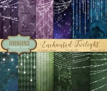 Twilight fantasy fairy lights digital paper backgrounds, g