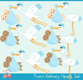 Twin Baby Boys Stork Delivery Babies African - american Babies Clipart Set
