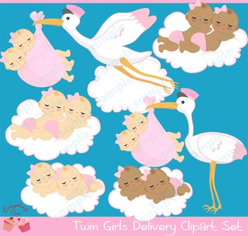 Twin Baby Girls Stork Delivery Babies African - american Babies Clipart Set
